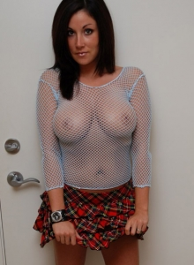 Krissy Shows Off Her Huge Tits In A Fishnet Top - Picture 1