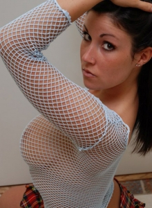 Krissy Shows Off Her Huge Tits In A Fishnet Top - Picture 3