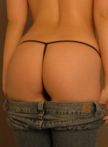 Watch As Krissy Pulls Down Her Tight Jeans Showing Off Her Tight Round Perfect Ass In A Tiny Black G-string - Picture 9