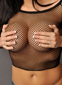 Sweet Krissy Loves To Tease With Her Big Juicy Tits In A Mesh Top - Picture 5