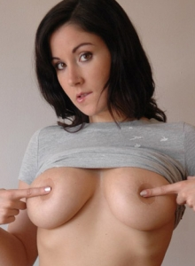 Watch As Big Breasted Krissy Lifts Her Shirt To Show Off Her Massive Tits - Picture 12
