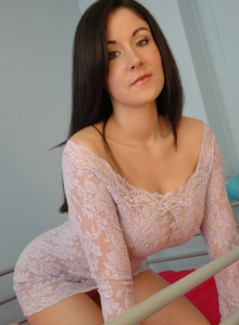Krissy Lifts Her Lace Dress Up To Play With Her Huge Perfect Juicy Tits - Picture 2