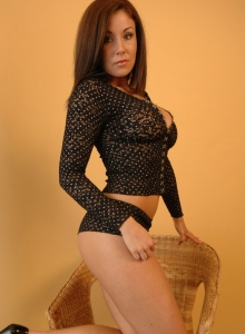 Krissy loves to get on her knees and tease in her mesh outfit from Sweet Krissy