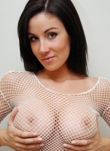 Krissy Shows Off Her Amazing Tight Body In A Sexy Fishnet Top And Short Skirt - Picture 8